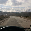 The Pir Panjal mountains (through a dirty windshield!), covered in snow