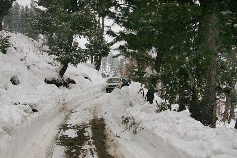 A snowy road in Kashmir