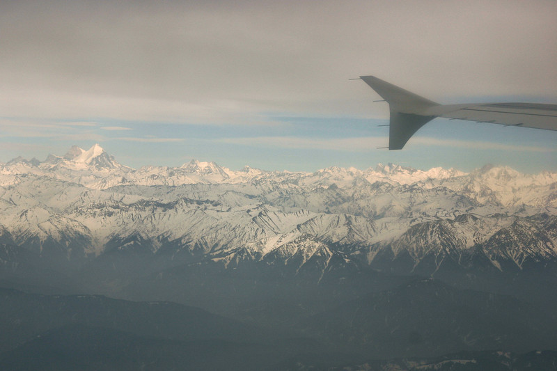 The view on the flight from Srinagar to Delhi is spectacular if it's clear. 23,409-ft Nun Kun, visible on the left, is the highest peak in the vicinity of Kashmir.
