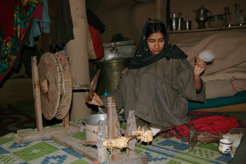 Making thread from sheep's wool on a traditional spinning wheel