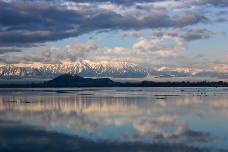 Dal Lake and the Pir Panjal mountains, Kashmir