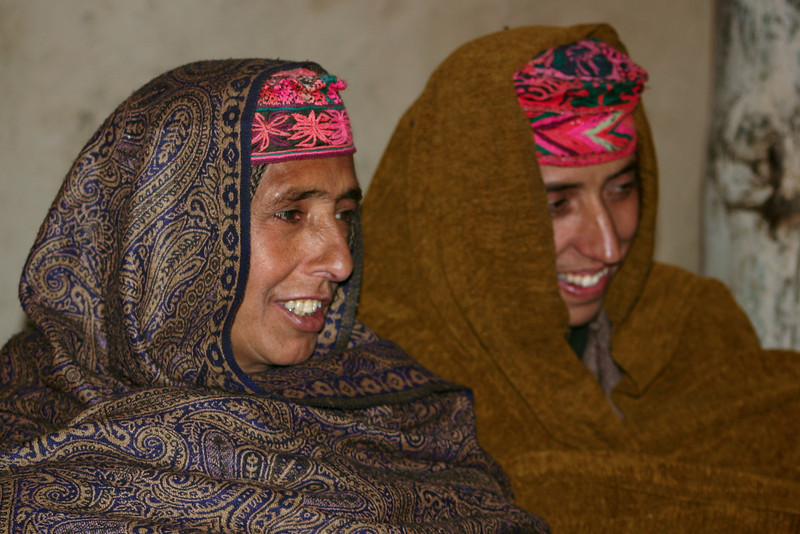Gujjar women wearing traditional hand-woven hats and Kashmiri (i.e. cashmere) shawls