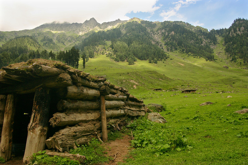 A log hut in the mountains of Kashmir, built sturdy enough to withstand heavy winter snow