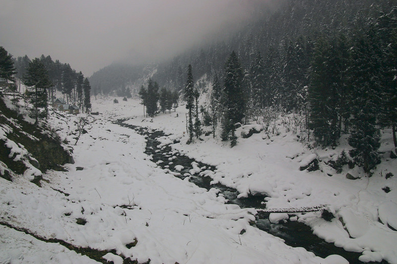 A Kashmir valley in winter