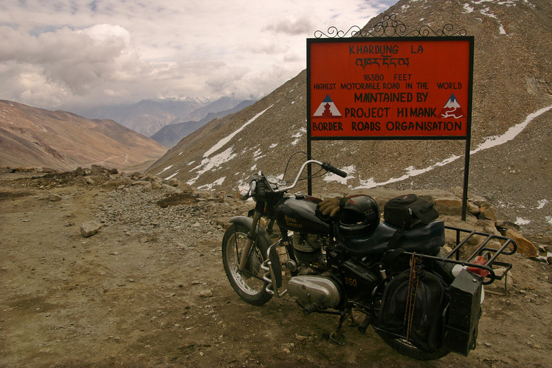 I rented this 500cc Enfield in Leh, Ladakh for a couple of days and went to explore the Nubra Valley. Leh and the Nubra Valley happen to be separated by the world's highest pass, the Khardung La (18,380 feet), so it was quite a journey!