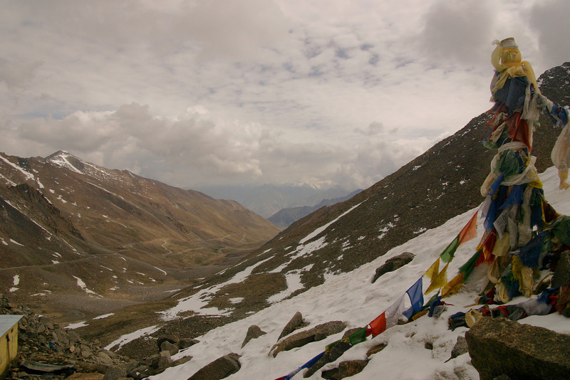 Looking north from the Khardung La down toward the Shyok Valley. It was really cold on the motorcyle.