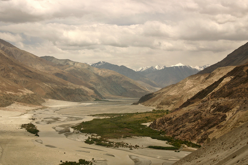 Looking east up the Shyok Valley. Geologically, this marks the division between two mighty mountain ranges: the Himalaya (on the right) and the Karakoram (on the left).