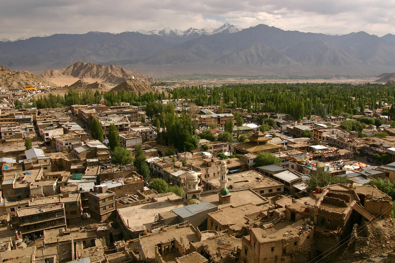 Although Ladakh is primarily a Buddhist area, there is a small Muslim presence in the town of Leh - notice the minaret and dome of a mosque in center foreground