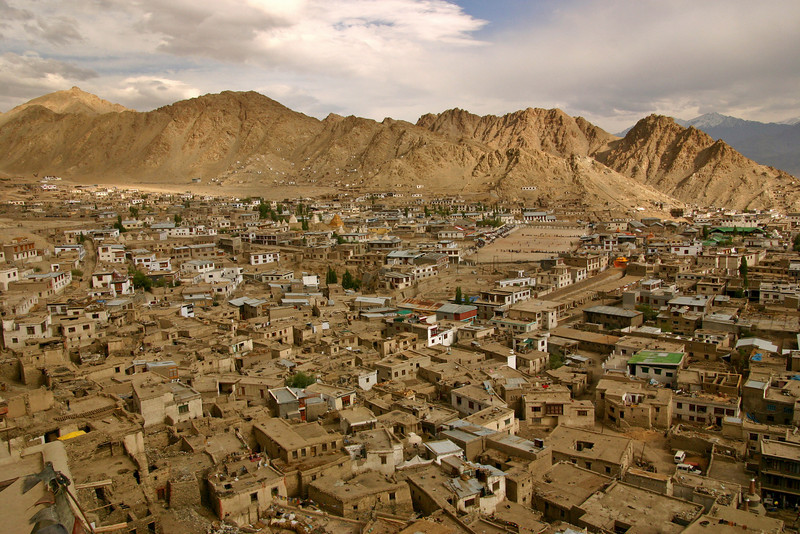 The crowded old city of Leh, Ladakh