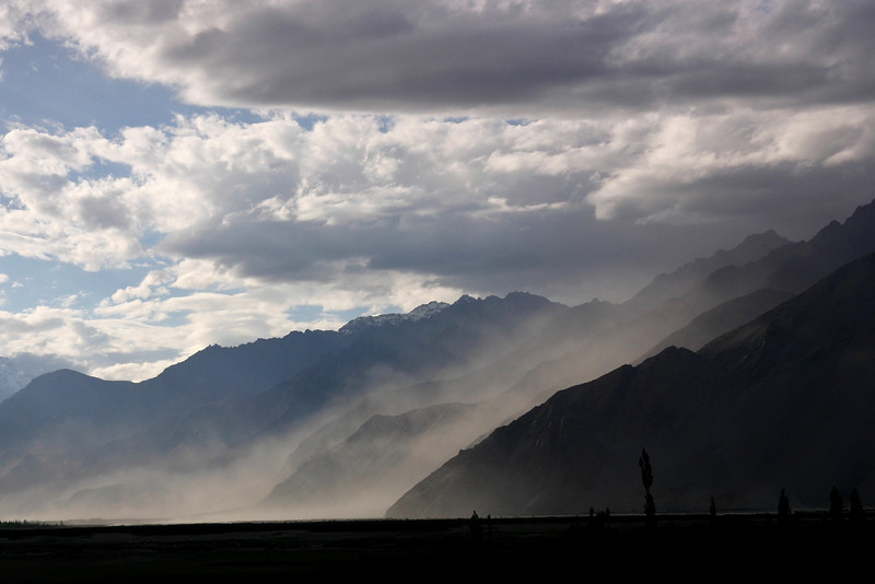 A dust storm engulfs the Shyok Valley, Ladakh, India