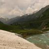Leftover snow in June at 9000 feet in Sonamarg, Kashmir