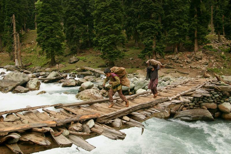 Gujjar children carry firewood across an exciting bridge in Kashmir