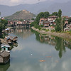 Jhelum river with houseboats in Srinagar, Kashmir