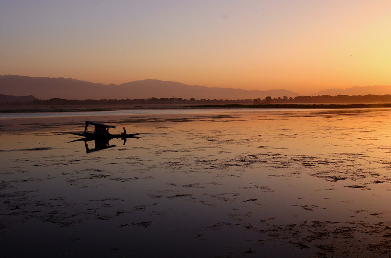 Dal Lake at sunset. The lake has a chronic water weed problem that is unfortunately only getting worse.