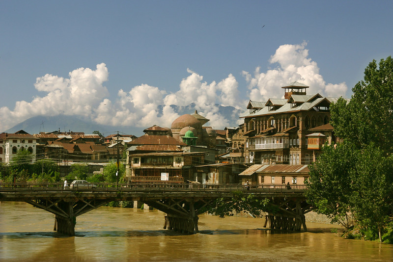 An old wooden bridge in the heart of the city of Srinagar