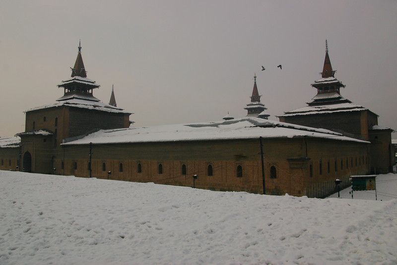 Srinagar's Jama Masjid, probably one of the oldest mosques in Kashmir, dates from the 1400s. The unique square shape and angular style is peculiar to Kashmiri mosques.