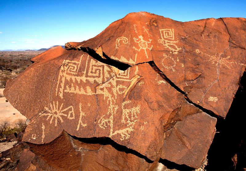 Rock Art petroglyphs at the Painted Rocks near Yuma Arizona