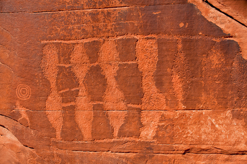 Four Wise Men, Part of the thousands of petroglyphs in Petroglyph Valley located in the Valley of Fire Nevada