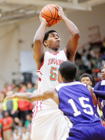 Don Knight / The Herald Bulletin<br /> Anderson's Kobe Clay shoots as the Indians hosted the Muncie Central Bearcats on Thursday.