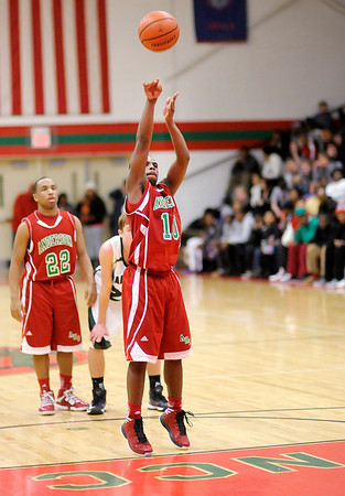 Anderson's Kenya Wilkerson shoots a free throw as the Indians faced Pendleton Heights in the County Tournament Championship on Friday.