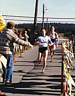 Individuals - Debbie Bowker barely outkicks Chris Garrett-Petts in an early 1980's 8K