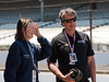 Tony George talking with his Mom, Mari Hulman George, in Ed Carpenter's Pits at the Indianapolis Motor Speedway...