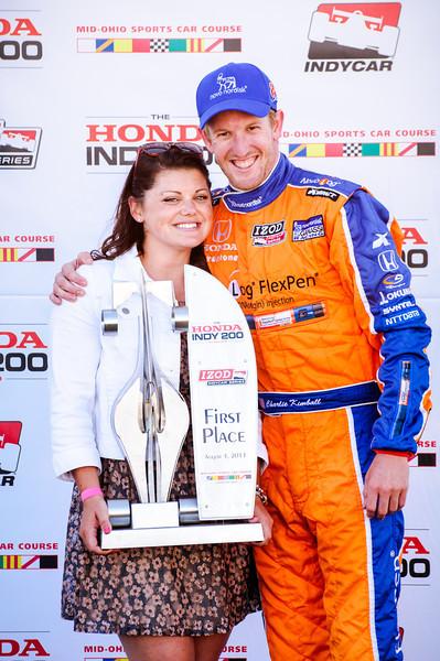 Charlie Kimball at the podium after winning the  2013 Mid Ohio Honda 200...