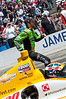 James Hinchliffe racing Ryan Hunter-Reay at Carb Day at the Indianapolis Motor Speedway...