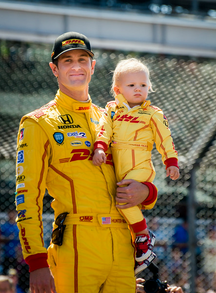 Ryan Hunter-Reay and his sone being introduced at the 2014 Indy 500...