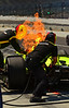 Simon Pagenaud's car has a little flare up...