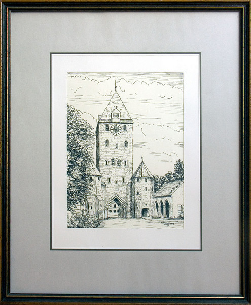 Regensburg Ostentor, ink drawing, 1993