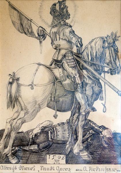 Saint George, pencil drawing, 1939
