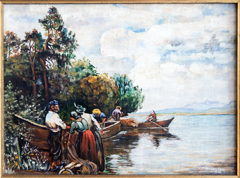Lake scenery, oil on plywood, 1996