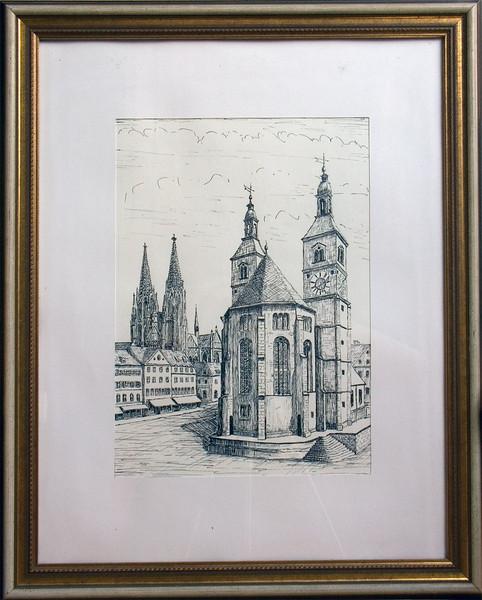 Regensburg Neupfarrplatz, ink drawing