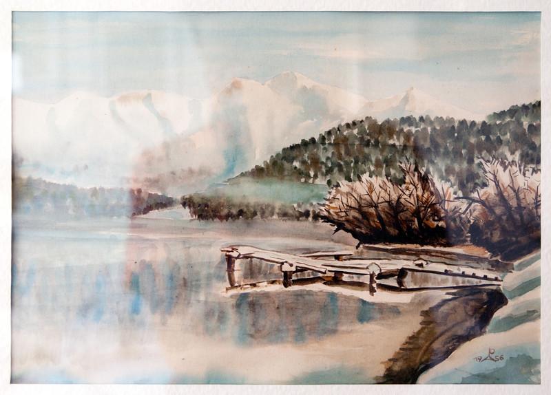 Lake view in winter, aquarelle, 1956
