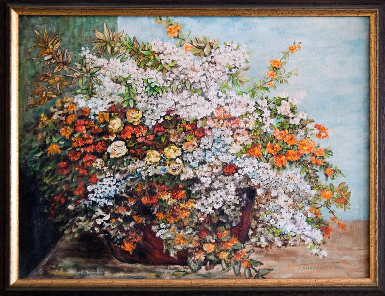 Flowers, oil on plywood, 1990