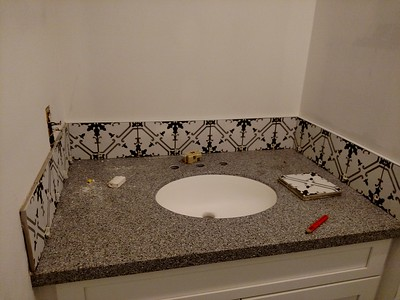 "powder room with decorative tile - this room will be painted ""Crabby Apple Red""!!!!"