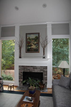 gas fireplace and windows in main room