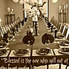 """Luke 14 (New International Version)<br /> The Parable of the Great Banquet<br /> <a href=""""http://www.biblegateway.com/passage/?search=Luke"""">http://www.biblegateway.com/passage/?search=Luke</a>+14&version=NIV<br /> <br /> 15 When one of those at the table with him heard this, he said to Jesus, """"Blessed is the one who will eat at the feast in the kingdom of God.""""<br /> <br /> 16 Jesus replied: """"A certain man was preparing a great banquet and invited many guests. 17 At the time of the banquet he sent his servant to tell those who had been invited, 'Come, for everything is now ready.'<br /> <br /> 18 """"But they all alike began to make excuses. The first said, 'I have just bought a field, and I must go and see it. Please excuse me.'<br /> <br /> 19 """"Another said, 'I have just bought five yoke of oxen, and I'm on my way to try them out. Please excuse me.'<br /> <br /> 20 """"Still another said, 'I just got married, so I can't come.'<br /> <br /> 21 """"The servant came back and reported this to his master. Then the owner of the house became angry and ordered his servant, 'Go out quickly into the streets and alleys of the town and bring in the poor, the crippled, the blind and the lame.'<br /> <br /> 22 """"'Sir,' the servant said, 'what you ordered has been done, but there is still room.'<br /> <br /> 23 """"Then the master told his servant, 'Go out to the roads and country lanes and compel them to come in, so that my house will be full. 24 I tell you, not one of those who were invited will get a taste of my banquet.'""""<br /> <br /> more..<br /> <a href=""""http://life.goodnewseverybody.com/eternity.html"""">http://life.goodnewseverybody.com/eternity.html</a><br /> <br /> *from <a href=""""http://salphotobiz.smugmug.com/Weddings/Edward-and-Aisanne-Wedding/29621756_97NW55#!i=2535319949&k=C2fZnd5"""">http://salphotobiz.smugmug.com/Weddings/Edward-and-Aisanne-Wedding/29621756_97NW55#!i=2535319949&k=C2fZnd5</a>"""