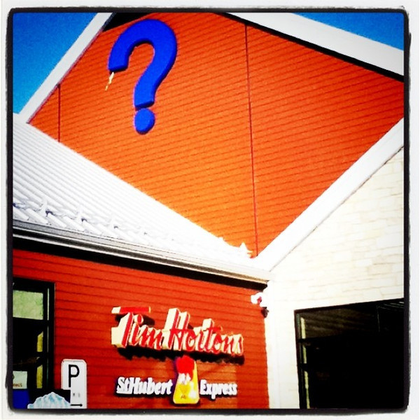 The question is, you want #donuts or #chicken?? #travel #sign #canada #interesting