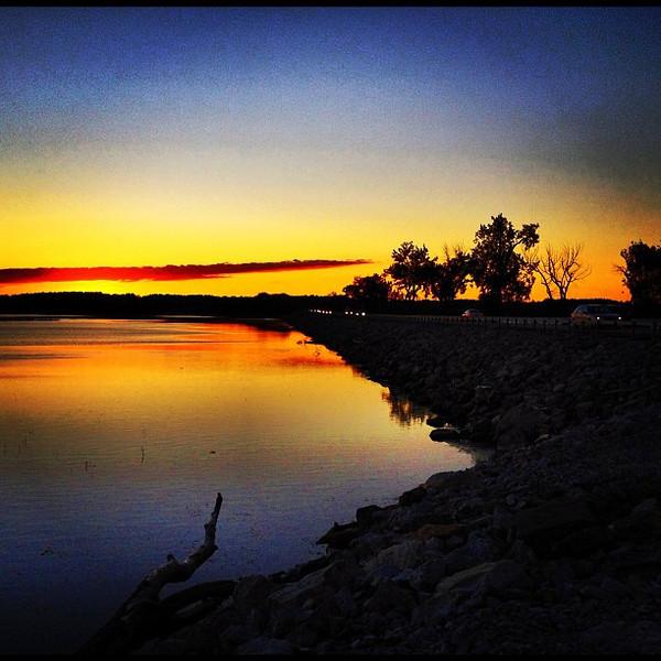 Golden Lake Champlain. #vt #sunset