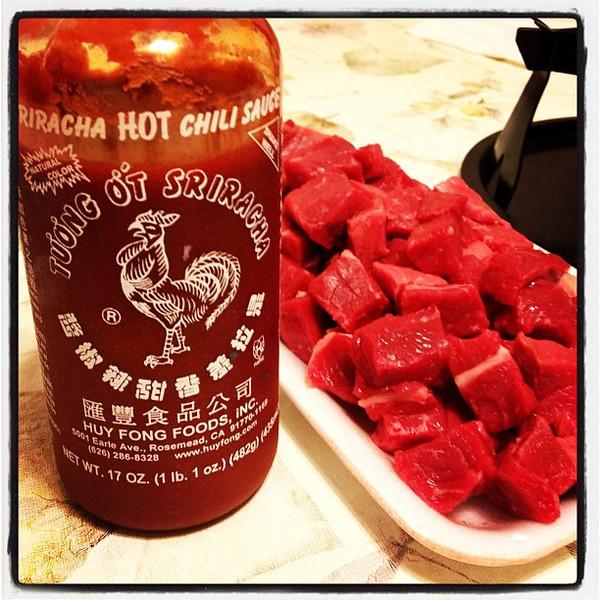 Sriracha is a must! #fondue #dinner #chili #hotsauce