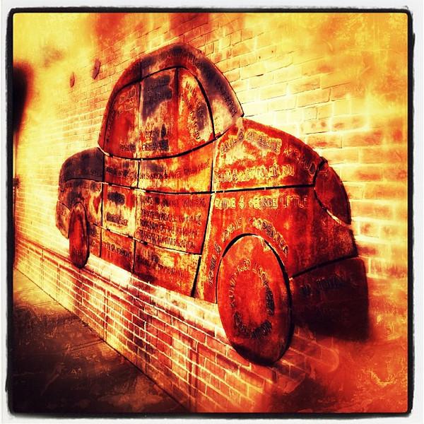 Car in wall. #btv #vt