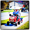 Souped up rider #mower. That's how he #travels. #milton #btv #transportation