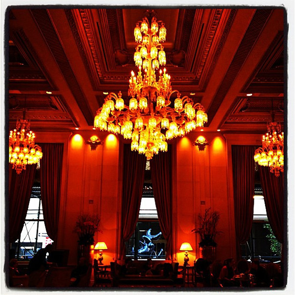 "Chandeliers in ""The"" Fairmont Hotel. #nyc"