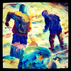 Painting of three guys working the snow.