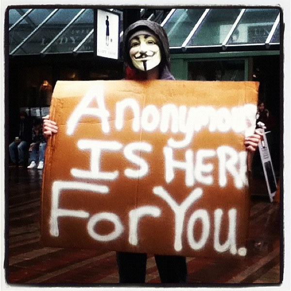 Anonymous? Huh! Found this guy on Church St. #btv #sign #crazy