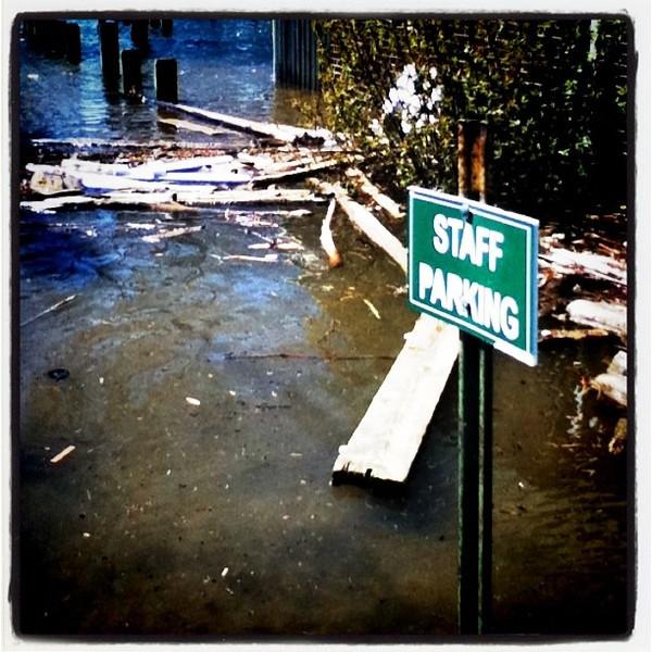 """Employee of The Month"" parking spot! #btv #vt #flood #breakwater #funny"