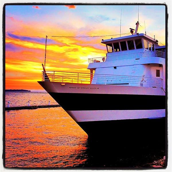 Spirit of Ethan Allen III loves sunsets! #btv #vt #boat