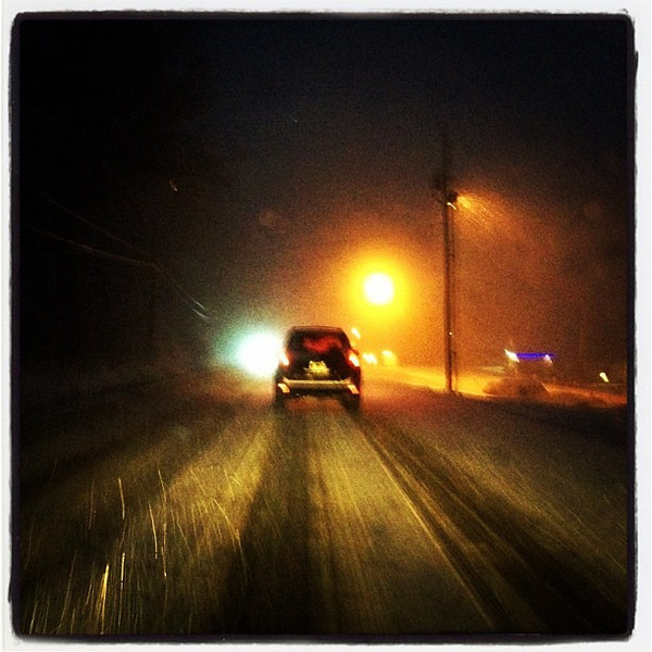 Commute home with icy roads and falling snow. #btv #milton #vt